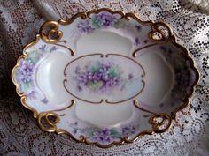Large Gilt Violets Porcelain Pedestal Bowl Hand Painted Violet Oval