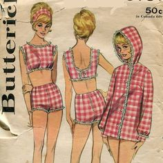 1960s Bathing Suit Butterick 3131 Size 14 Bust 34 by PengyPatterns, $25.00