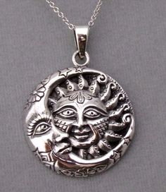 925 Sterling Silver Sun Moon Stars Pendant Necklace Celestial New Awesome! #unbranded #Pendant