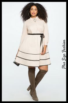 This white plus size fit and flare dress looks so sweet. Love the combination with the over the knee boots #plussize #ad #whitedress #blackandwhite