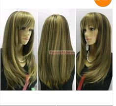 FIXSF393 pretty charming long brown mix straight Hair health wigs for Women Wig #Unbranded