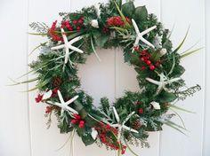 Beachy Christmas Starfish Wreath or Centerpiece, Christmas Beach Wreath, Beach Wedding Centerpiece on Etsy