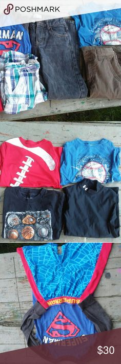 Boys bundle Boys bundle includes: Black tshirt size S Black long sleeve under armour size LG but fits like M Blue Baseball tshirt size 8 Superman shirt size 8 Superman shorts size 6/7 Blue checkered shorts size 8 Dark brown khaki shorts size 10 NWT Black levi jeans size 10 reg relaxed fit Matching Sets
