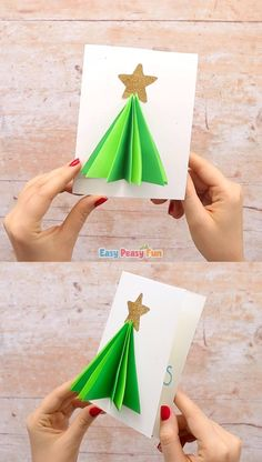 This Christmas tree card is a fun project for all ages! Younger kids will love crafting it and it's pretty enough older kids and grown ups will enjoy it too. Projects for kids Christmas Tree Card Kids Crafts, Bee Crafts, Easy Christmas Crafts, Christmas Crafts For Kids, Simple Christmas, Modern Christmas, Christmas Pictures, Christmas Wedding, 3d Christmas Tree Card