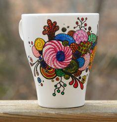 Hand Painted Coffee Mug Organic Abstract by RileyMicaDesigns