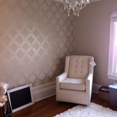 Wall stencil complete and new nursery coming together