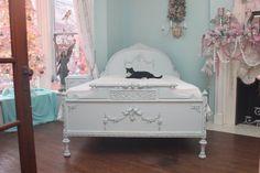 antique full bed frame shabby chic by VintageChicFurniture on Etsy