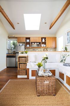 Kitchen and living room in one - open small space