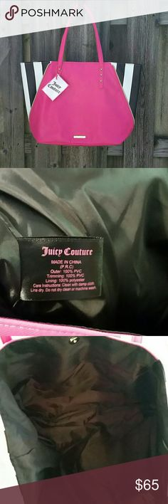 "Juicy Couture Tote This Juicy Couture tote bag is new with tags and is a true statement piece. It is 100% PVC. Size is 18""×12""×4"". This pink tote bag is sure to please! Juicy Couture Bags Totes"