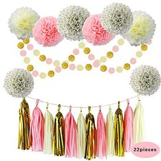 Pink Gold Cream Baby Shower Decorations Party Favors Glitter Gold Polka Dot Tissue Paper Flowers Pom Poms Tassel Garland Party Supplies for Girl Teen First Birthday Bridal (Gold-Pink-Cream) Gold Tissue Paper, Gold Glitter Paper, Tissue Paper Flowers, Unique Bridal Shower, Bridal Shower Favors, Party Favors, Girl Baby Shower Decorations, Wedding Decorations, Gold Baby Showers