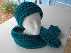Hot Lagoon Teal Crocheted Chunky Hat N Scarf that you can add your own touch to it. Made with acrylic yarn...www.KaysKoolKrochet.Etsy.com