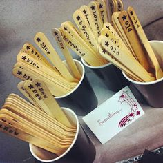 """Hand Stamped """"Old, New, Borrowed, Blue"""" wooden spoons for bridal shower"""