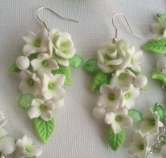 Light green jewelry  Spring jewelry  Polymer by insou on Etsy, $66.00