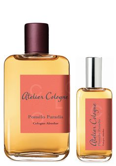 Pomelo Paradis  Notes Pomelo Paradis by Atelier Cologne. Pink grapefruit, Calabrian mandarin, black currant, orange blossom, Bulgarian rose, mint, amber, vetiver and iris.