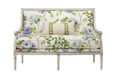 Massoud Furniture's 525 Settee in PEACHES PORCELAIN