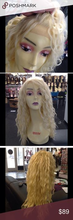 Platinum blonde long curly wig New look inside Wig Swisslace a soft lace look so natural if you want curly hair this is the perfect choice it's not so much perfect amount of curls this Lacefront wig I Silky and soft raindrop curls Accessories Hair Accessories