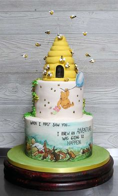 This cake was inspired by the classic tales of Winnie the Pooh and all his friends of the Hundred Acre Woods! Everything on this cake was handmade and edible! Winnie The Pooh Themes, Winnie The Pooh Cake, Winnie The Pooh Birthday, Baby First Birthday, Birthday Cake, Boy Baby Shower Themes, Baby Shower Cakes, Baby Boy Shower, Shower Bebe