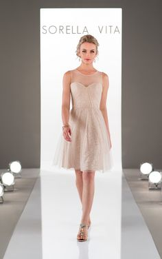 A style both romantic and glamorous, this tulle and sequin bridesmaid gown is the perfect addition to any wedding.