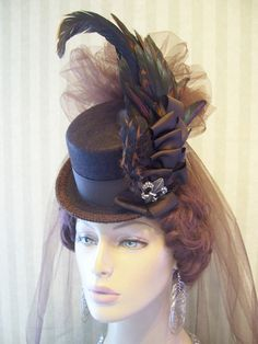 Mini+Top+Hat+Steampunk+Hat+Halloween+Hat+Brown+Mini+Top+by+MsPurdy,+$42.99