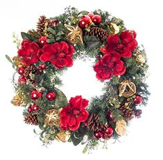 The Village Lighting 30 in. Red Magnolia Pre-lit LED Wreath combines a traditional color palette and modern design for a festive holiday look. This wreath. Outdoor Light Bulbs, White Light Bulbs, Magnolia Wreath, Magnolia Flower, Battery Operated Christmas Wreath, Artificial Christmas Wreaths, Lighting Companies, Christmas Decorations, Holiday Decor
