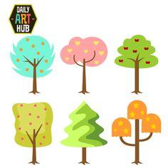 50% Off Cute Trees Digital Clip Art for by DailyArtHub on Etsy
