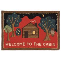Welcome to the Cabin on Red Hooked Wool Accent Rug
