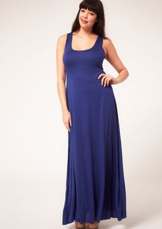 ASOS Curve Women's Sleeveless Jersey Maxi Dress Blue Size US 14 UK 18 NWT $53