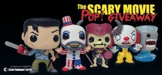 Nerd Fu's Scary Movie Prize Pack Giveaway, with prizes provided by Entertainment Earth, includes ALL of the following:  (1) Ash from Army of Darkness Funko Pop! (1) Deadite from Army of Darkness Funko Pop! (1) Pennywise from IT Funko Pop! (1) Captain Spaulding from House of 1000 Corpses Funko Pop! (1) Sharknado Funko Pop! All the Pop!'s come new, in-box!
