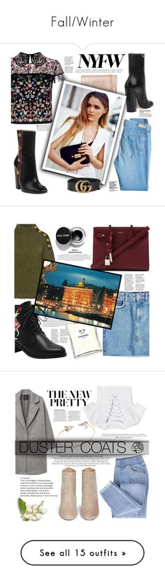 """Fall/Winter"" by narminabasoffa ❤ liked on Polyvore featuring Loeffler Randall, Needle & Thread, Gucci, AG Adriano Goldschmied, Boutique Moschino, Yves Saint Laurent, Chanel, Anine Bing, MANGO and Aquazzura"