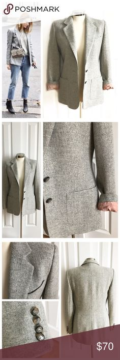 Ralph Lauren Grey Boyfriend Blazer Gorgeous wool boyfriend blazer / jacket in a light grey color with blush color lining. Looks cute with the sleeves rolled up or left flat. 100% wool. Lining 100% acetate. Good condition - probably just needs a dry cleaning for inside cuffs. Nice for fall, winter, and spring since the color is lighter! Really a beautiful piece! Looks awesome with jeans and ankle boots! First photo on left not actual item just showing for styling inspiration! Ralph Lauren…