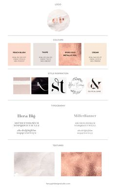 Charley Rose Brand Board | Fancy Girl Design Studio | Logo Design | Watercolor textures | rose gold