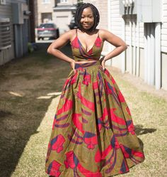 Quickly sold out-crop top and skirt set made from African prints or ankara. Tie front top and skirt perfect for Summer