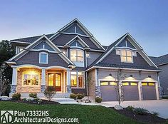 Plan 73332HS: Four Gabled Craftsman Stunner
