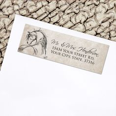 Rustic Horse Head Sketch Return Address Labels - The Painting Pony - equestrian stationery sticker label for the horse lover.