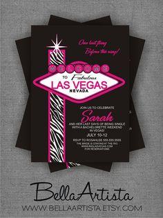 Welcome to Las Vegas Bachelorette Party Invitation, 21st Birthday Party Invite - bellaartista.artfire.com