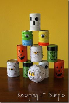 halloween bowling cans simple halloween party game use a pumpkin for the bowling ball for more of a challenge - Halloween Games For Kid
