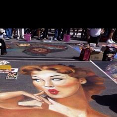 Sidewalk chalk art in Sarasota Fl.