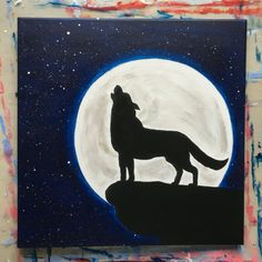 Wolf Painting Howling at the Moon Stars Night by AnettesPaintings - Gouache Painting Sillouette Painting, Wolf Painting, Painting & Drawing, Watercolor Paintings, Gouache Painting, Cute Canvas Paintings, Easy Canvas Painting, Canvas Art, Acrylic Canvas