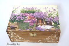 Pudełko,herbaciarka - Lawendowo