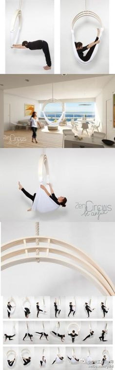 Designers from the moment is very popular in Europe, anti-gravity yoga inspired design of this hanging chair of fitness.  It has sleek, small footprint, is very convenient to use when at home exercise.  With it you can make a variety of yoga, the various parts of the body can receive adequate exercise.