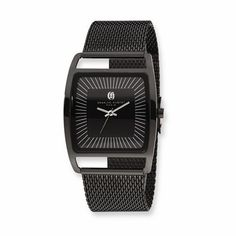 Charles Hubert Black IP-Plated Stnlss Stl Milanese Band 38mm Case Watch