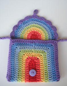 Crochet Pattern Rainbow purse bag INSTANT DOWNLOAD PDF, girl, long strap, cute…