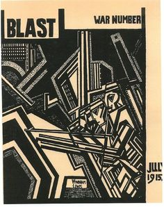Pioneers of Modernism ~ Wyndham Lewis ~ Magazine cover for Blast, War Number, July 1915 ~ Woodcut ~ 1915 Wyndham Lewis, Art Manifesto, Dazzle Camouflage, Futurism Art, Modernisme, Magazine Cover Design, Magazine Covers, Design Graphique, Vintage Design
