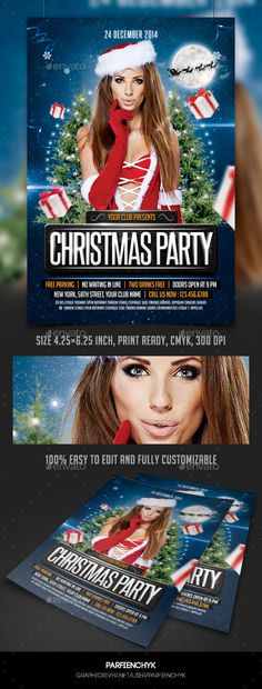 Buy Christmas Party Flyer Template by Parfienchyk on GraphicRiver. Christmas Flyer Template, Xmas, Christmas Christmas, Party Flyer, Photoshop, Snow Flakes, Templates, Winter, Frost
