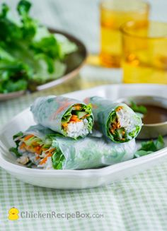 Healthy Chicken Breast Spring Rolls with Garlic Soy Dip