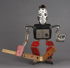 hockey goalie - found object robot assemblage sculpture by Brian Marshall by adopt-a-bot, via Flickr