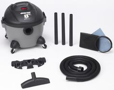 Shop-Vac 5850800 8-Gallon 3.5-Peak HP Quiet Plus Series Wet/Dry Vacuum Accessories Included: 7-foot x 1 1/4-inch Hose, (3) 1 1/4-inch Extension Wands, 10-inch Wet/Dry Nozzle, Tool Holder, Foam Sleeve, Reusable Dry Filter. 2 Year Warranty. 6' Power Cord. On board tool and cord storage. Easy Reach On/Off Switch and top carry handle.  #Shop-Vac #HomeImprovement