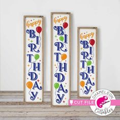 Happy Birthday Balloons SVG, 3 vertical files for long porch sign, front door design, for Cutting Machines, Commercial Use Digital Design Happy Birthday Font, Happy Birthday Balloons, Monogram Frame, Monogram Fonts, Porch Signs, Door Signs, Porch Welcome Sign, Front Door Design, Invitation Design
