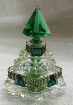 VTG Czech Miniature Emerald Glass Crystal Brass Filagre Perfume Bottle | eBay
