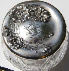 Unger Poppy Sterling Silver Cut Crystal Dresser Jar